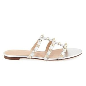 Shoes - Studded Summer Silver w/ No Straps Flat Sandals